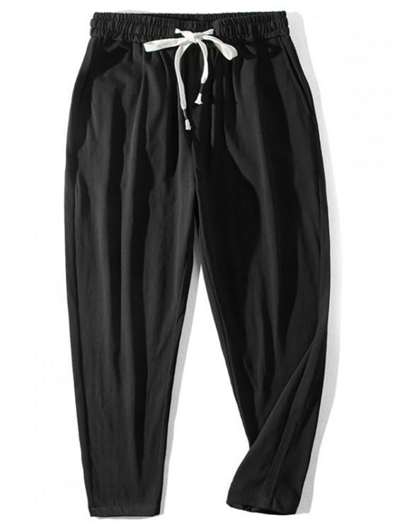 women Chinese Pattern Elastic Waist Casual Pants - BLACK L