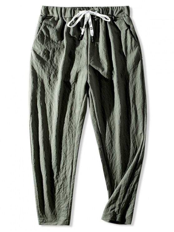 shop Casual Solid Color Elastic Waist Pants - CAMOUFLAGE GREEN 3XL