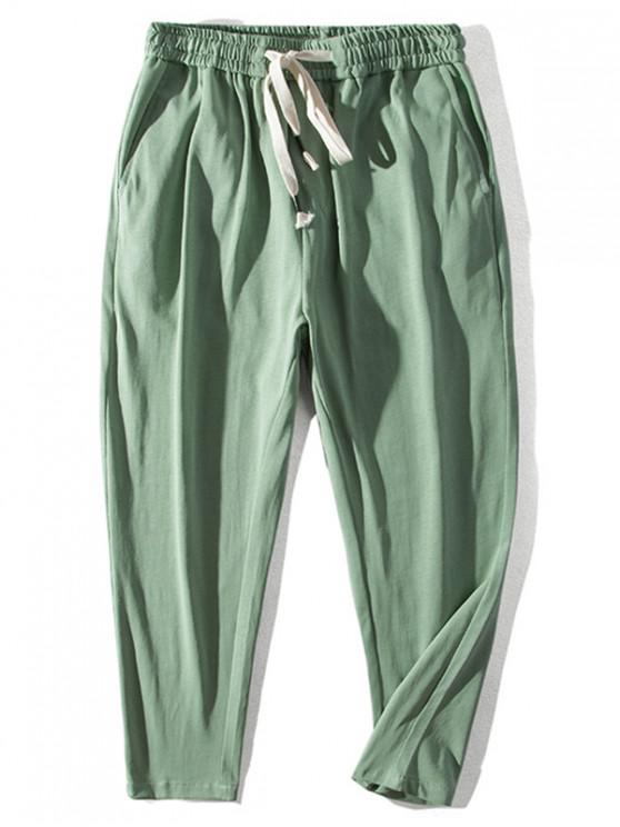 shops Chinese Pattern Elastic Waist Casual Pants - LIGHT GREEN 2XL
