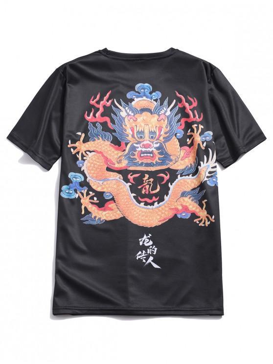 women Letter Oriental Dragon Print Short Sleeve T-shirt - BLACK M