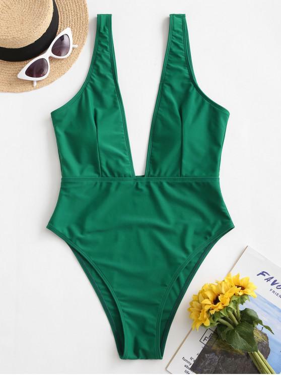 sale High Cut Plunge Neck Swimsuit - GREEN L