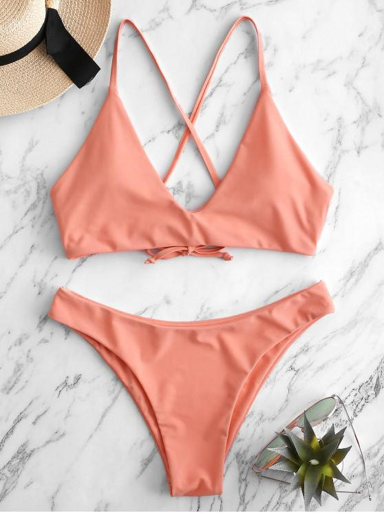 women's ZAFUL Tie Bralette Bikini Set - LIGHT SALMON L