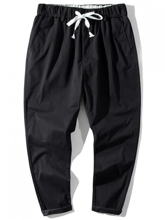 unique Solid Color Elastic Waist Jogger Pants - BLACK L