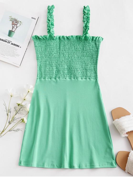 Со сборками С оборкой Мини-Платье - Клевер-зеленый M