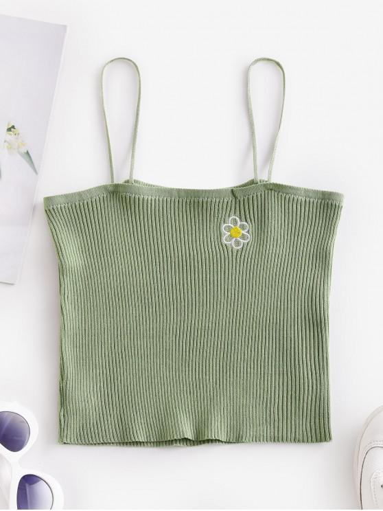 shops Knitted Floral Embroidered Cami Top - LIGHT GREEN ONE SIZE