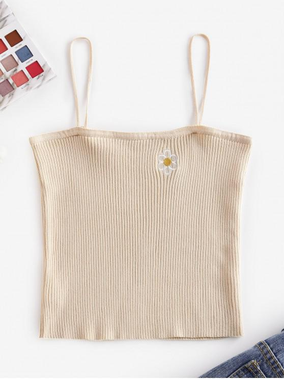 buy Knitted Floral Embroidered Cami Top - LIGHT KHAKI ONE SIZE