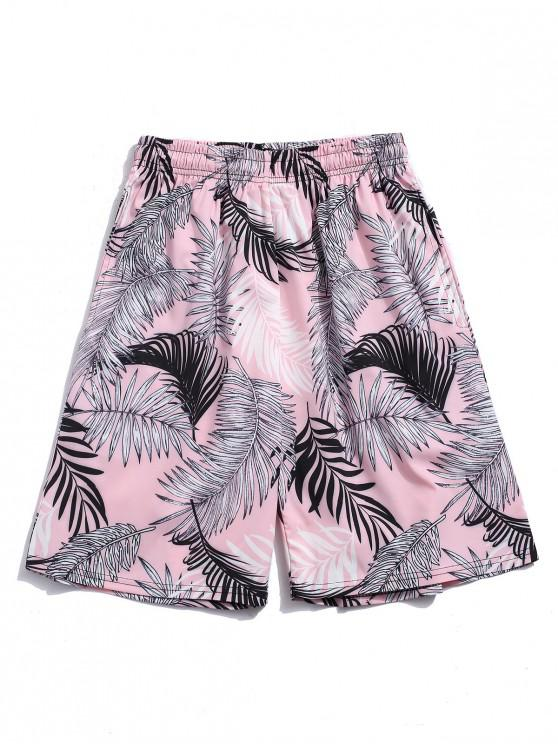 new Tropical Leaf Printed Vacation Shorts - LIGHT PINK 2XL