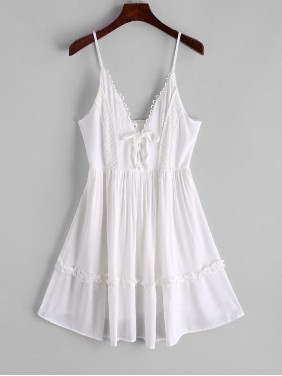 網片系帶皮科特修剪卡米連衣裙 - 白色 L