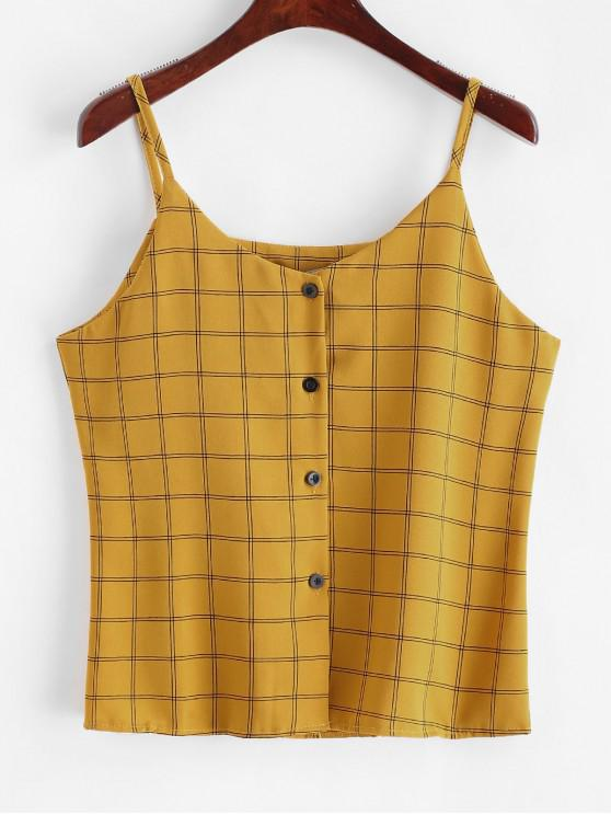lady Checked Button Up Cami Top - YELLOW ONE SIZE
