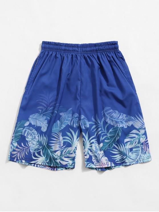 Pantaloncini per Vacanza con Stampa a Foglie Tropicali - Blu  Seta 2XL