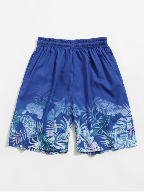 outfits Tropical Leaf Print Vacation Shorts - SILK BLUE 3XL