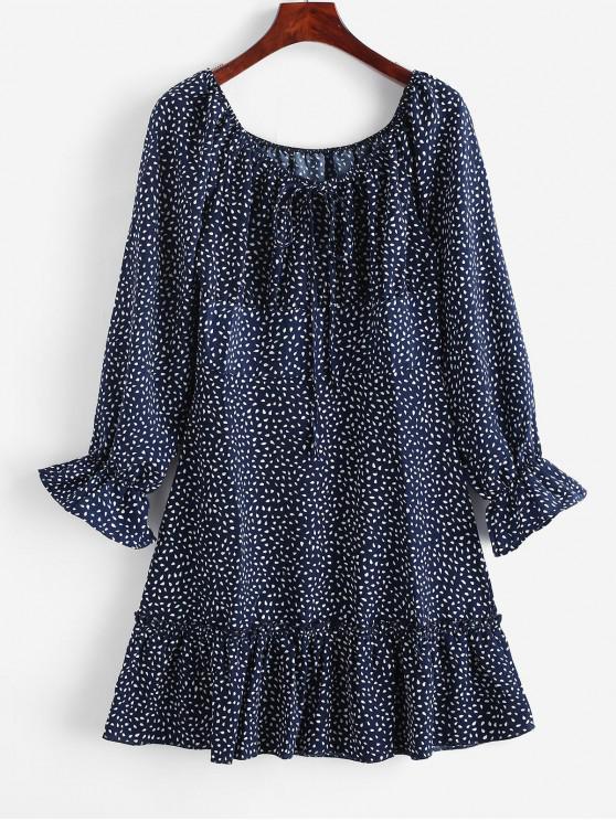 online Tie Collar Poet Sleeve Raindrop Print Mini Dress - MIDNIGHT BLUE S