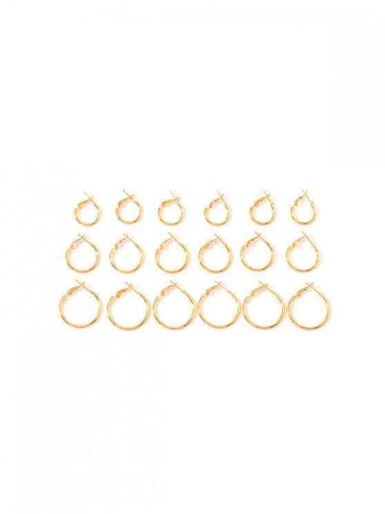 womens 9Pairs Brief Hoop Earrings Set - GOLD