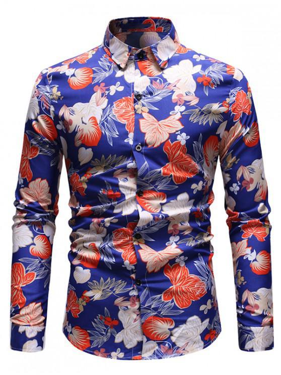 sale Leaf Print Button Up Vintage Shirt - DEEP BLUE L