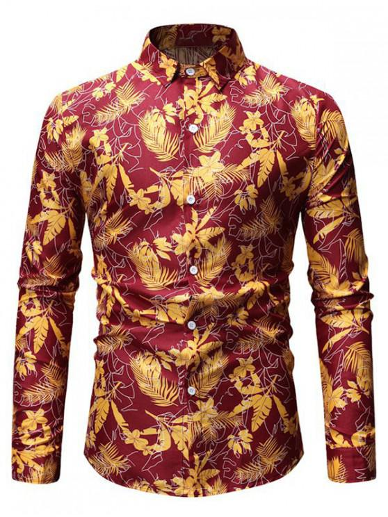 ladies Tropical Leaf Print Button Up Long Sleeve Shirt - RED 3XL