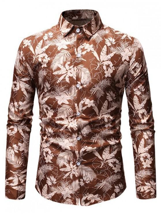 unique Tropical Leaf Print Button Up Long Sleeve Shirt - KHAKI 3XL