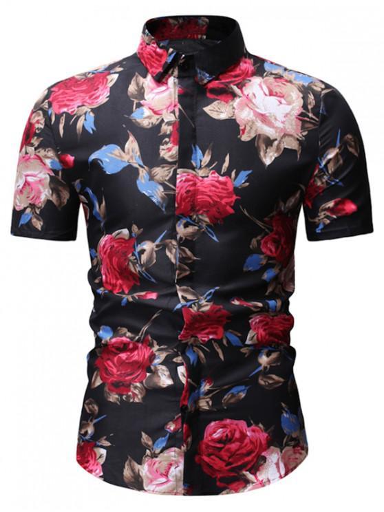 womens Floral Print Vintage Short Sleeve Shirt - BLACK 3XL