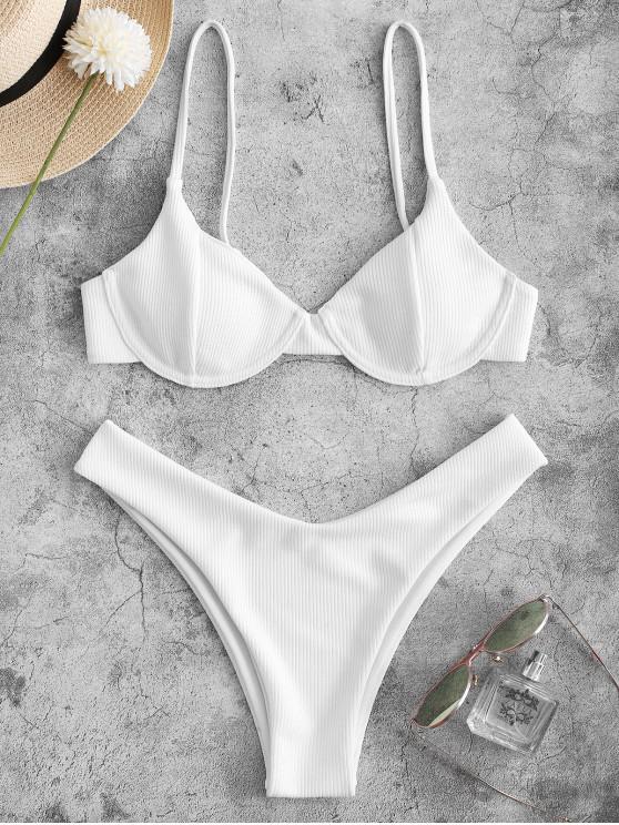 hot ZAFUL Ribbed Underwire High Leg Bikini Swimsuit - WHITE S