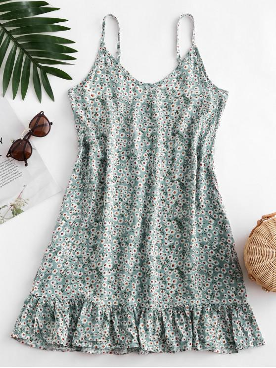 affordable Ditsy Print Flounce Hem Mini Dress - PALE BLUE LILY S