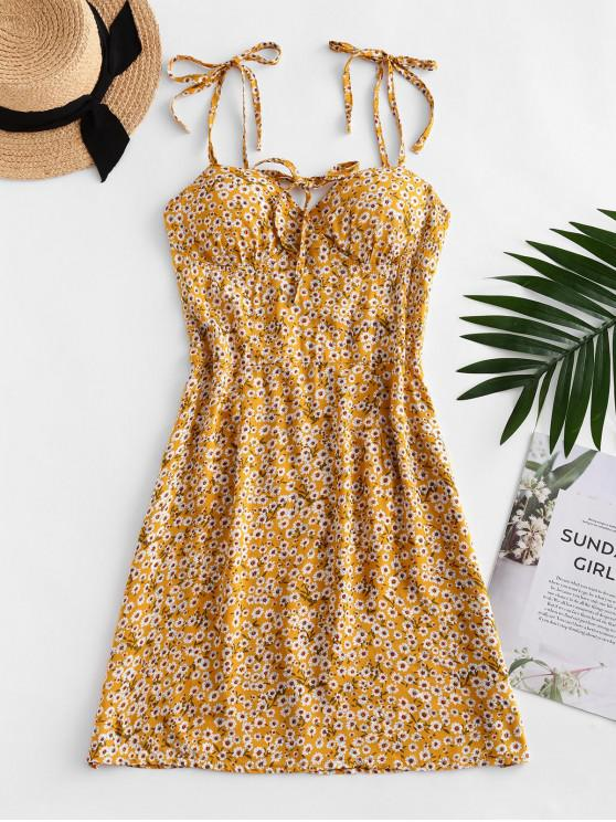 lady Ditsy Print Tie Shoulder Bowknot Mini Dress - GOLDENROD L