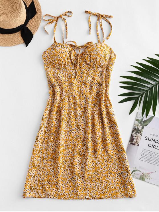 Ditsy Print Tie Shoulder Bowknot Mini Dress - قضبان ذهبية XL