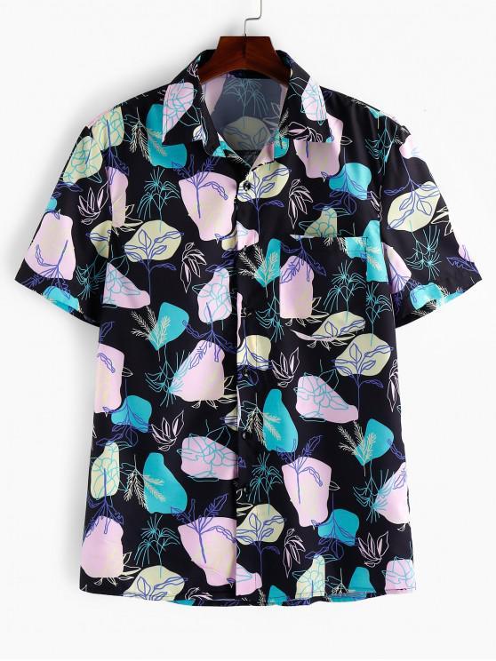 best ZAFUL Geometric Leaf Print Pocket Button Shirt - MULTI 2XL