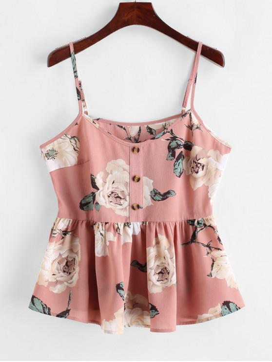 ZAFUL Flower Print Peplum Buttoned Cami Top - ارتفع M