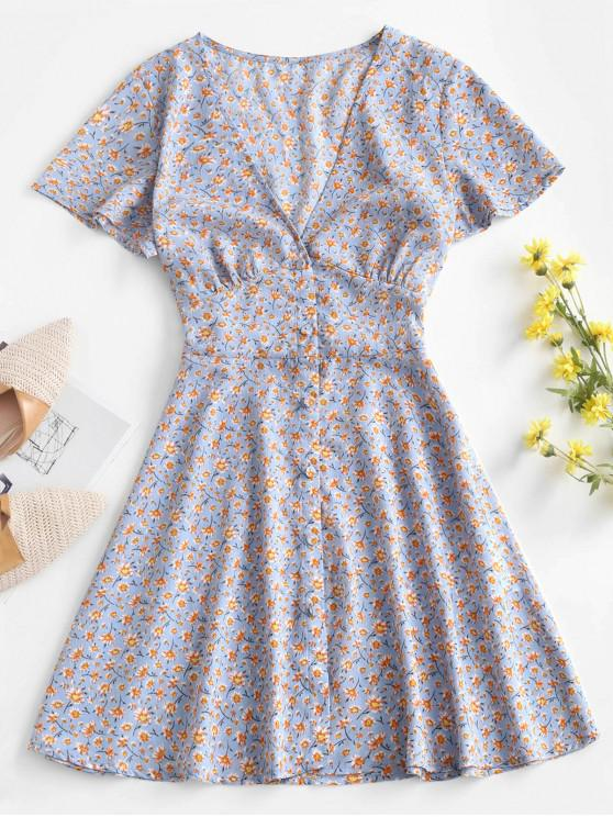 lady ZAFUL Ditsy Floral Wrap Mini Dress - LIGHT BLUE S