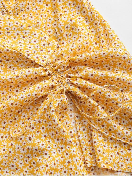 ZAFUL Ditsy Print Cinched Off Shoulder Two Piece Dress - Yellow Xl
