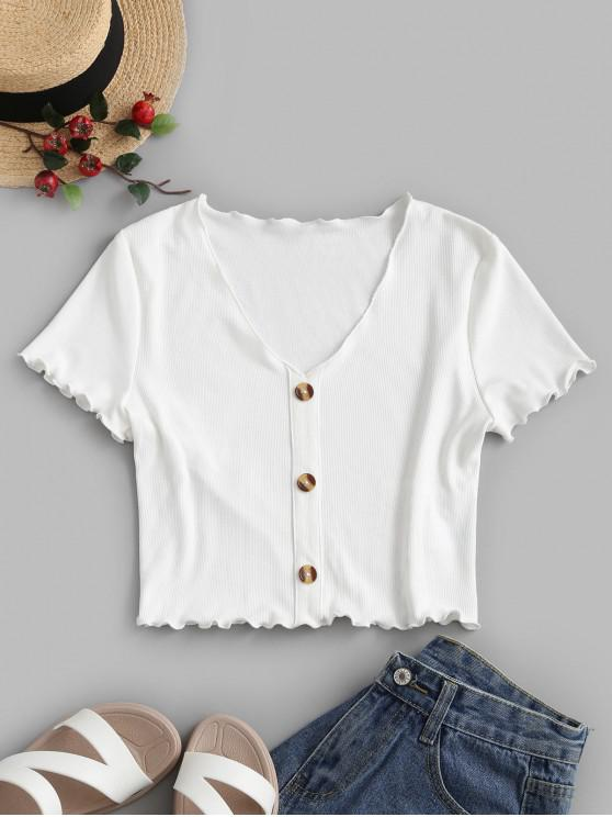 chic ZAFUL Mock Button Lettuce-trim Ribbed Top - WHITE M