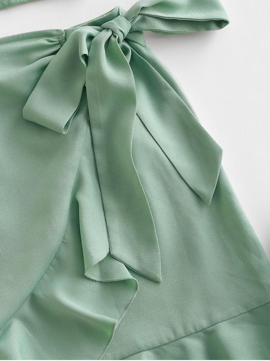 ZAFUL Tie Shoulder Shirred Ruffle Overlap Skirt Set - Light Green L