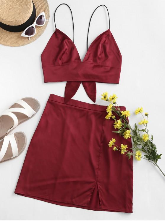 unique ZAFUL Slit Crop Cami Two Piece Suit - RED WINE M