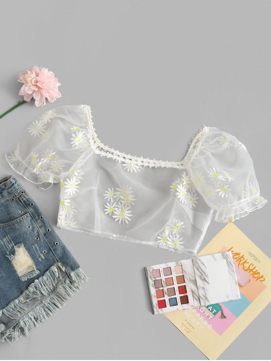 ZAFUL Organza Daisy Embroidered Milkmaid Blouse - حليب ابيض M