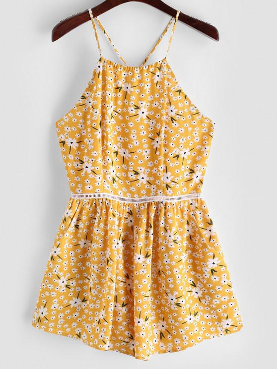 best ZAFUL Tiny Floral Wide Leg Cami Romper - BRIGHT YELLOW M
