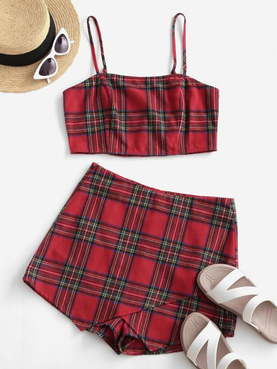lady ZAFUL Plaid Smocked Cami Two Piece Suit - LAVA RED M