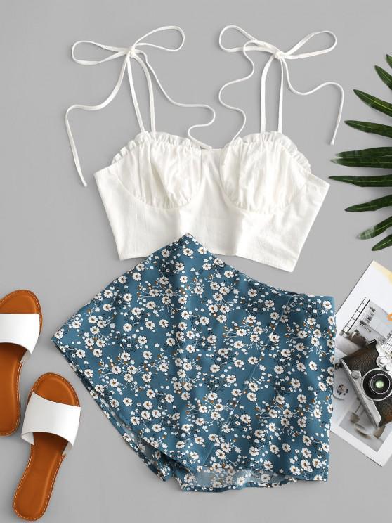 fashion ZAFUL Bustier Tie Shoulder Ditsy Floral Skorts Set - MULTI-C S