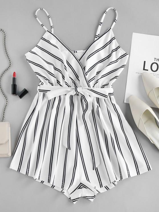 shop ZAFUL Striped Cami Romper - WHITE XL