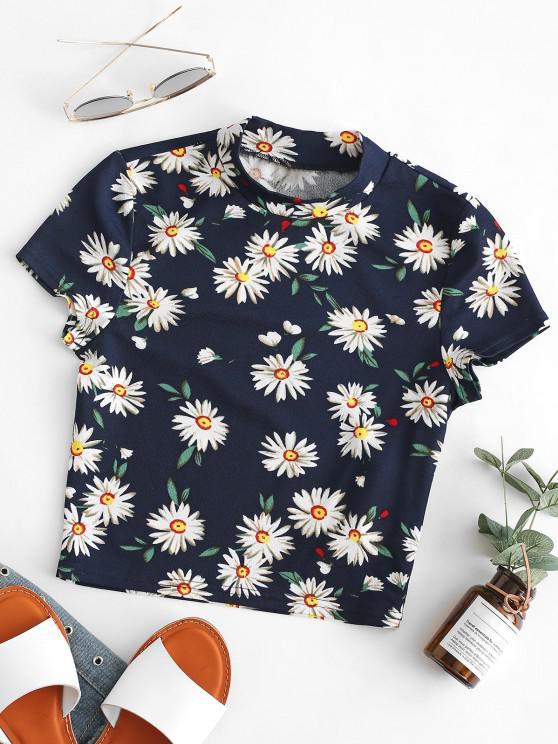 sale ZAFUL Flower Print Short Sleeve Crop T-shirt - DARK SLATE BLUE S