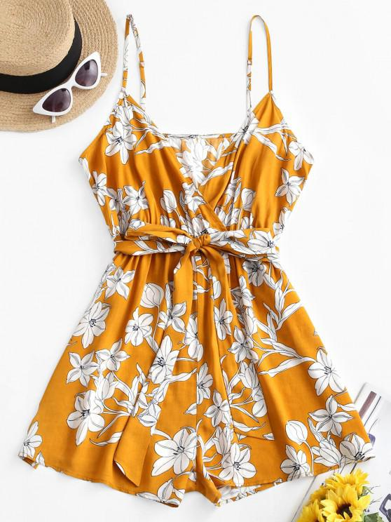 buy ZAFUL Floral Belted Wide Leg Cami Romper - SUN YELLOW XL
