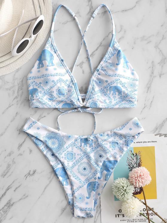 ZAFUL Costume da Bagno Bikini con Spalle Scoperte e Scollo a V a Taglio Alto - Celeste Chiaro S