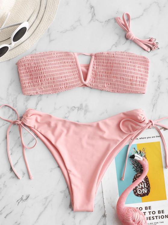ZAFUL Keyhole Smocked Tie High Cut Bandeau Bikini Swimsuit - زهري S