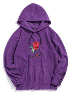 Rose Letter Embroidered Hoodie - Purple 2xl