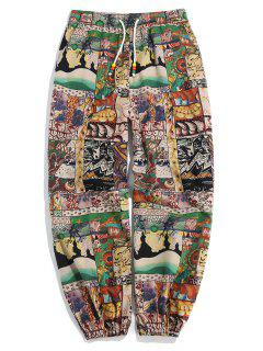 Patchworks Painting Printed Casual Pants - Multi L