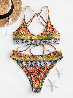 ZAFUL Floral Paisley Strappy Bikini Set - Multi-d M