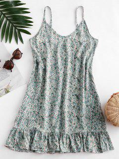 Ditsy Print Flounce Hem Mini Dress - Pale Blue Lily M