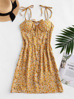 Mini Robe Fleurie Imprimée à Epaule Nouée Avec Nœud Papillon - Verge D'or Xl