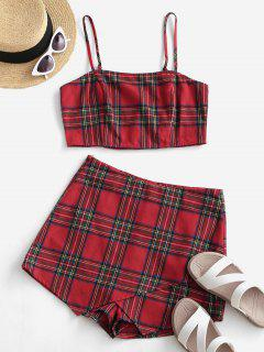 ZAFUL Plaid Smocked Cami Two Piece Suit - Lava Red S
