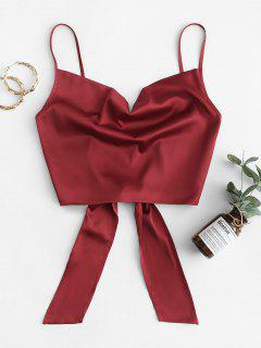 ZAFUL Cropped Tie Back Satin Cowl Front Cami Top - Red Wine S