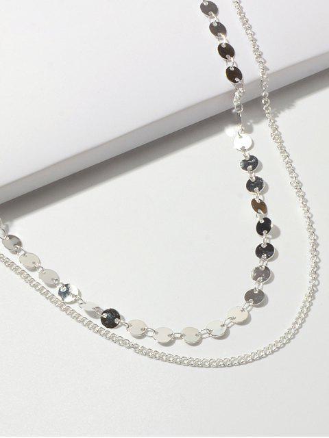 Диск Многослойное Цепное Ожерелье - Серебристый  Mobile
