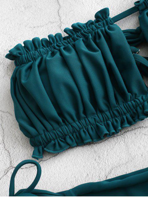chic ZAFUL Ruffle Tie Side Low Waisted Bandeau Bikini Swimsuit - PEACOCK BLUE S Mobile